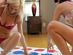 Frisky young hotties with sizzling bodies get horny and lusty playing twister. They start passionate lesbian sex eating and fingering each other. Extremely seductive lesbian sex video presented to you by Nubile Films.