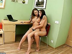Brunette Ava with giant boobs gets her honeypot eaten to orgasm by Sonechka in lesbian action