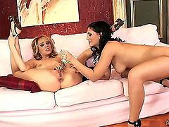 Blonde diva Blue Angel and her brunette girlfriend Eve Angel are going to have cool lesbian fun together. Very naughty chicks are licking and playing with vaginal balls.