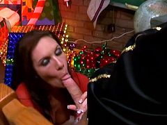 Sexy brown-haired milf Taylor Rain is getting naughty with some dude indoors. She kneels in front of him and milks his dick dry onto her face.