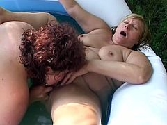 Outdoor scene with those two nasty fat sluts licking and rubbing each other cunts in that small pool, those girls can not stop doing that.