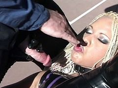 Check out this horny blonde bitch showing off her amazing latex suit and messing around with her slave. She sucked him off and took a ride on his big fat cock!