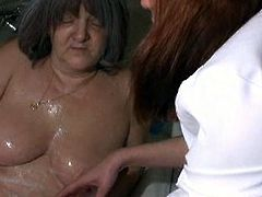 Nasty granny gets buck naked and goes to the shower to get her old body cleaned up. If you're into hairy wrinkled pussies you'll definitely love this! Cum inside and check this out!