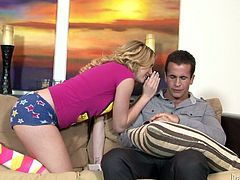 Skanky teen chick is chilling on a couch at the moment when mature dude enters the room. He seduces her for sex. It seems like she doesn't mind having sex with her best friend's daddy.