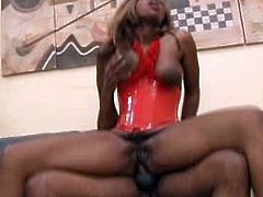 Ruined black prostitute with slack big tits with oversized dark nipples lies on her back with legs wide open getting her anus pounded missionary style before she rides massive cock reverse and finally welcomes facial.