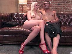 Lorelei Lee whips Rico's ass and balls before taking a ride on his cock