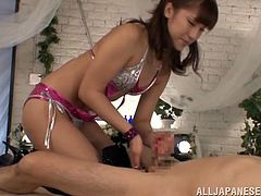 The beautiful Asian girl Anna Anjo brought the lotion and was ready to give this man a handjob and blowjob to make him cum.
