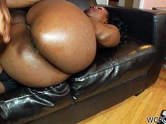Check out super hot ebony slut with big ass and nice tits Candy Girl taking it up the ass! She enjoys a deep anal pounding from his big black dong!