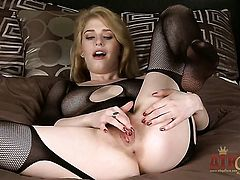 Blonde asian Allie James with shaved bush dildo fucking her wet hole