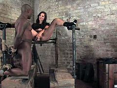 Jack Hammer gets tied up and clothespinned by Bobbi Starr. Later on she tortures his dick and gets her vagina licked. Then she toys his ass with a strap-on and rides big black cock.