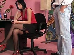 Indecent wench in stockings fucks.iTalian slut in fishnet stockings.