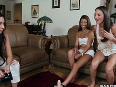 Wondrous babes with delicious tits take part in lesbian threesome