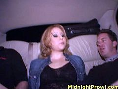 Skanky red-haired prostitute makes out with two hubbies in hotel room