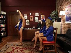 Bella Bends, Bella Wilde and Lea Lexis are hot chicks in stewardess uniform. They lick each others feet and pussies. Then they also start to shove feet in each pussies.