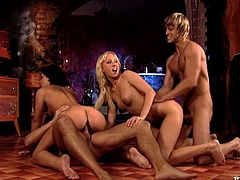 This foursome has Carla Cox and Rihanna Samuel, a blonde and a brunette, enjoying the pleasures of two cocks who pound on them hotly.