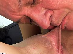 Insatiable brunette whore gets her pussy eaten by mature stud