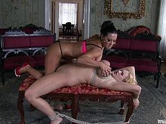 Curvaceous blonde chick gets tied up and gagged by her brunette mistress. Later on Angel also gets her tits tortured and pussy toyed with a strap-on.