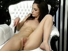 Ann Marie La Sante with tiny tits and trimmed bush does her best to make your cock harder in solo sc