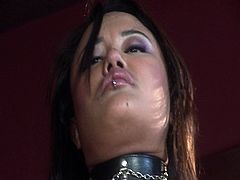 Busty Asian whore Annie Cruz sits on hard cock deep inside her tight oriental pussy. She looks kinky with her leather costumes but she moans with pain and pleasure for that huge dick inside her.