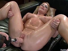 THis slender and horny blondie is going to be amazed by a powerful fucking machine! She is going to get it as deep as possible!