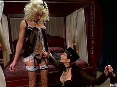 She dresses him up like a slutty maid and spreads his legs with ropes tight on both sides! Babe is going to explore his asshole with some toys!