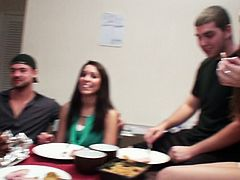 Sex greedy students are having a dinner after studying. Spoiled chics grab strain dicks of their BFs under the table to give them thorough handjob in sizzling hot group sex video by Mofos Network.