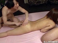 Sweet Nippon chick Kokone likes some foreplay, before the action. She gives one of the guys a short head, while getting licked and then, bends over. Now when she's bent, we can see Kokone's sexy ass and that tight anus. One of the dudes slides a finger in her hole and she bursts with pleasure! Enjoy the rest of it!
