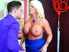 Blonde cougar Alura Jenson seduces friend of her son Seth Gamble to have nice pounding together. Now the babe with big fake boobs is performing blow  getting penis into cunt.