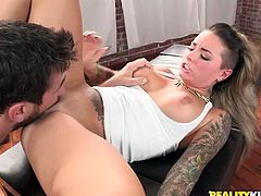 This horny and naughty honey is full of tattooes, as well as full of passion! She loves huge cocks and the way she deals with a cock is so amazing!