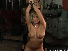 Kinky blonde MILF is here to satisfy her filthies desires featuring BDSM. So she gets tied up with her hands listed up in the air. Tough mistress squeezes her nipples causing pain and pleasure to submissive blonde mommy