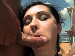 Chubby brunette milf Angell Summers pleases some guy with a blowjob on a ship. Then one more stud joins them and Angell gets her mouth fucked hard before enjoying stunning DP.
