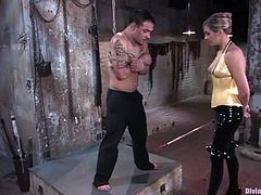 Sexy mistress Maitresse Madeline is having fun with submissive dude called Rico. She whips him with a lash and then makes the guy lick her ass.