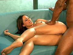 Stunning girl gives hot blowjob to a big cocked Black man. Later on she gets fucked deep in her shaved pussy and tight ass.