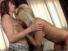 Old sex hungry brunette lesbian calls up a young fresh faced blond prostitute. She oral strokes her firm tits before moving down to her ruined bearded pussy to give a tongue fuck.