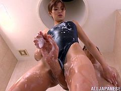 Minami Aoi got in the shower with her man wearing a swimsuit. She gets all soapy and wet and then pleases her man with titjob, blowjob and sex.