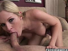 Pretty blonde Aimee is completely naked and ready to suck and swallow my hard cock. She lays on the couch and sucks my dick hard while holding her feet to flex in that hot position. Then, the blonde lays on her back and I insert my penis deep in her throat. She likes that and even takes care of the balls!