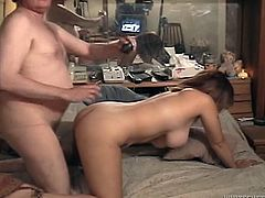 Fat ugly dude penetrates young brunette in missionary style. Tasty looking chick having big boobs rides his cock intensively and her jugs bounce like crazy.