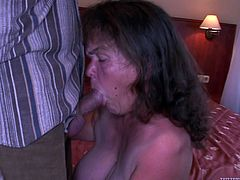 Raunchy mature midget is sucking meat pole deepthroat. She takes the rod as deep as she can until she starts gagging. Later in the clip, lustful woman is banged bad from behind.