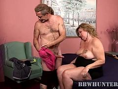 Watch this mature BBW havingher face covered by cum in this hardcore video after being fucked by very horny guy.