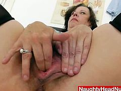 Mature brunette nurse takes her gown off and sits down on a gynecological chair. Then she fingers and drills her hairy pussy with a dildo.
