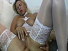Hot blond milf takes a hard fisting in her loose cunt and anal creampie