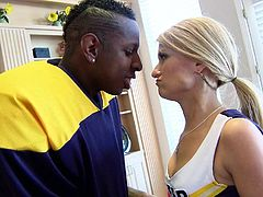 Football a black hunks reminds Sadie of high school and just like back then she's a fucking whore that loves big black cocks. Here she's getting one from this guy and loves it! The dude grabs her by that pretty neck and makes her so horny that she immediately grabs his dick and sucks it.