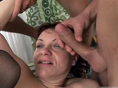 Lusty short haired mature woman with chubby body and saggy boobs is serving three horny men in hardcore gangbang. Kinky porn clip presented by Fame Digital.