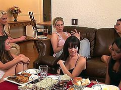 Allie Haze, Asa Akira, Dana DeArmond, Julia Ann and Phoenix Marie are sitting and having dirty talk. All chicks are in anticipation of having unforgettable lesbian group sex.