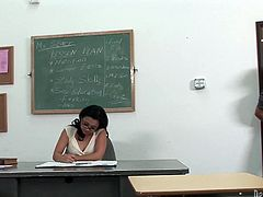 Asian cougar teacher is craving for hardcore sex. She seduces her student for sex in the lecture room. So she kneels down taking his rod in her mouth. Sexy mom gives hot blowjob.