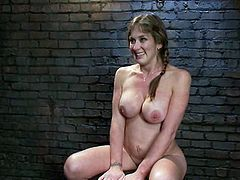 The busty slut in this video is going to be toyed and tortured while she's tied up as that's what happens in a BDSM video.