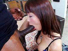 Ebony thug with enormous huge penis is having wild pounding with petite Asian chick Marica Hase. The beautiful babe from Asia is going to be screwed like never before by him!