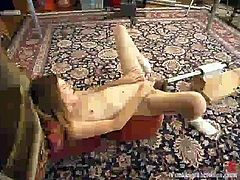 Adorable cutie Ashley is getting naughty indoors. She strokes her beautiful body and then takes an ardent ride on a fucking machine.