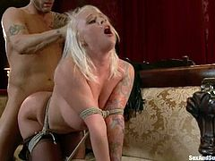 Gorgeous Angel Vain gets bounded and fucked on a sofa