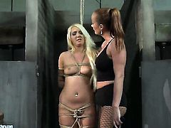 Blonde Maria Bellucci with juicy knockers and Valerie Follass both have great lesbian sex experience